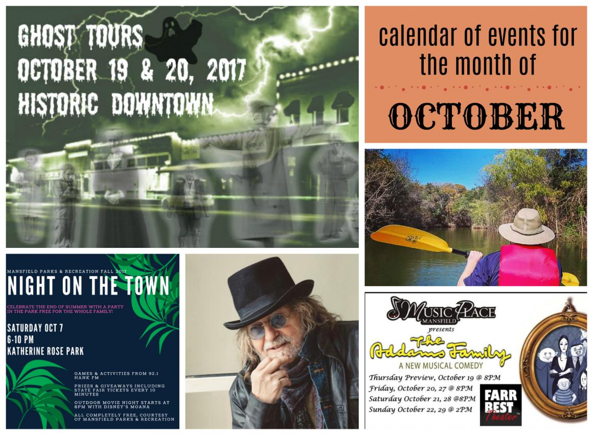 calendar of events, October, Mansfield, TX