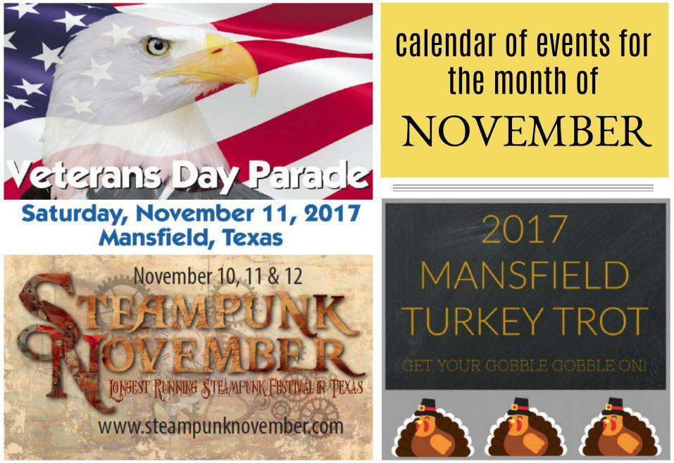 November 2017 calendar of events, Mansfield, TX