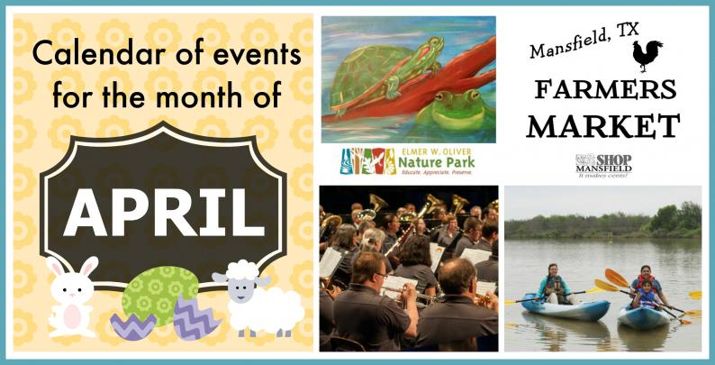 Calendar of upcoming events, April, Mansfield, TX